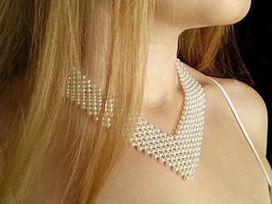 Плетем жемчужное ожерелье невесты | Ярмарка Мастеров - ручная работа, handmade