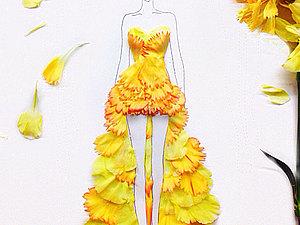 Fashion эскизы из цветочных лепестков | Ярмарка Мастеров - ручная работа, handmade