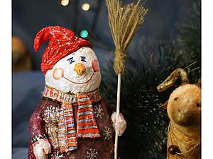 Мастер-класс: снеговик в технике ватного папье-маше. Ярмарка Мастеров - ручная работа, handmade.