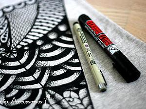 Рисовать может каждый! Расписываем майку в стиле зентангл | Ярмарка Мастеров - ручная работа, handmade