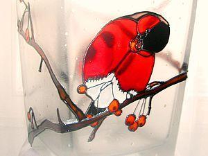 Витражная роспись цилиндрического предмета   Ярмарка Мастеров - ручная работа, handmade
