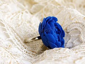 """Мастер-класс: кольцо """"Синий пион"""" из полимерной глины. Ярмарка Мастеров - ручная работа, handmade."""