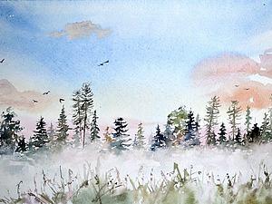 Видео мастер-класс: картина акварелью «Туманный рассвет». Ярмарка Мастеров - ручная работа, handmade.