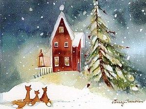 Новогодняя акварельная открытка.   Ярмарка Мастеров - ручная работа, handmade