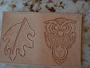 Осваиваем резьбу по коже. Делаем обложку портмоне «Осенний филин». Ярмарка Мастеров - ручная работа, handmade.