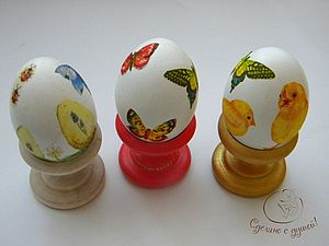 Декупаж яиц к Пасхе | Ярмарка Мастеров - ручная работа, handmade