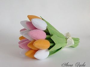 Тюльпаны из ткани | Ярмарка Мастеров - ручная работа, handmade