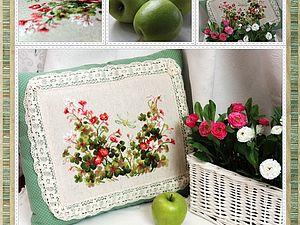 Моя винтажная подушка с растительным узором. Жду весну). Ярмарка Мастеров - ручная работа, handmade.