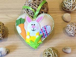 Создаем сердечко из фетра «Кролик с морковкой», или Как оригинально украсить дом к Пасхе. Ярмарка Мастеров - ручная работа, handmade.