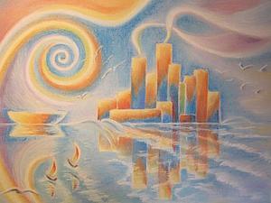 Рисуем пастелью: волшебный город на побережье. Ярмарка Мастеров - ручная работа, handmade.