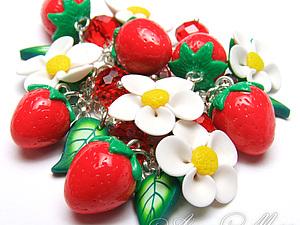 Цветы земляники из полимерной глины | Ярмарка Мастеров - ручная работа, handmade