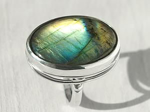 Кольцо серебряное с лабрадоритом | Ярмарка Мастеров - ручная работа, handmade
