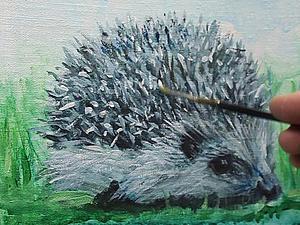 Рисуем ёжиков разными живописными методами. Ярмарка Мастеров - ручная работа, handmade.