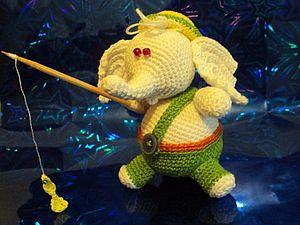 Мастер-класс. Слоник- рыбак. Описание вязаной игрушки. | Ярмарка Мастеров - ручная работа, handmade