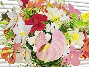 Интерьерный тропический букет в высокой вазе | Ярмарка Мастеров - ручная работа, handmade