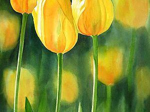 Нежные тюльпаны акварелью: 14 прекрасных картин | Ярмарка Мастеров - ручная работа, handmade