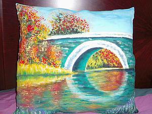 Расписываем ткань «Отражение моста в озере». Ярмарка Мастеров - ручная работа, handmade.