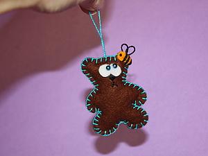 Мишка из фетра елочная игрушка, подвеска, брелок. Ярмарка Мастеров - ручная работа, handmade.