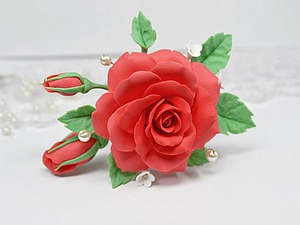 Видео мастер-класс: шпилька с розой из полимерной глины. Ярмарка Мастеров - ручная работа, handmade.
