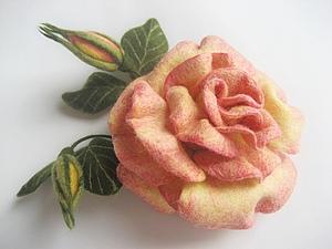 Мастер-класс: роза в технике сухого валяния. Ярмарка Мастеров - ручная работа, handmade.