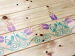 Декор лавки. Использование трафарета-бордюра. Ярмарка Мастеров - ручная работа, handmade.