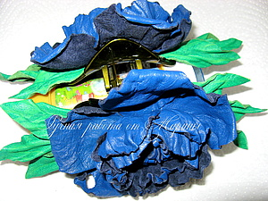 Заколка с цветами из натуральной кожи | Ярмарка Мастеров - ручная работа, handmade