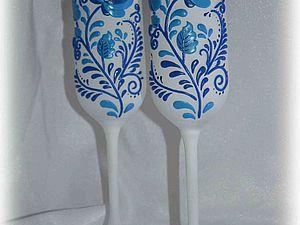 Декорируем свадебные бокалы по мотивам гжельской росписи. Ярмарка Мастеров - ручная работа, handmade.