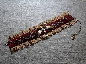 Изготовление бархотки с кружевом, цепочками, ключиком и бантом. Ярмарка Мастеров - ручная работа, handmade.