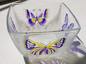 Мастер-класс по декору стеклянной тарелочки на основе витражной росписи. Ярмарка Мастеров - ручная работа, handmade.
