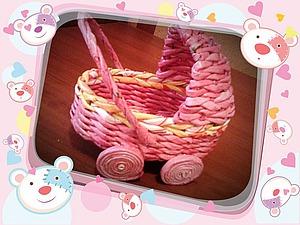 Плетем колясочку для кукол из бумажной лозы. Ярмарка Мастеров - ручная работа, handmade.