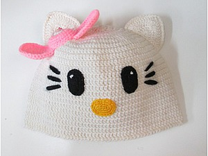Вяжем шапочку «Hеllo Kitty». Ярмарка Мастеров - ручная работа, handmade.