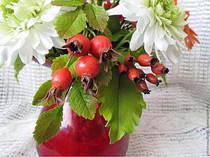 Новинка нашей студии - керамическая флористика (цветы из холодного фарфора) -Ягоды шиповника! | Ярмарка Мастеров - ручная работа, handmade