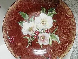 «Интерьерная тарелочка» обратный декупаж на стекле скидка!!!   Ярмарка Мастеров - ручная работа, handmade