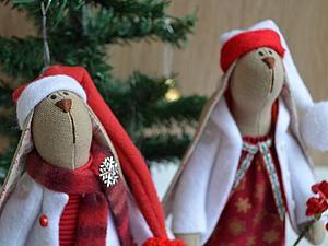 Парочка новогодних зайчат участвует в конкурсе | Ярмарка Мастеров - ручная работа, handmade