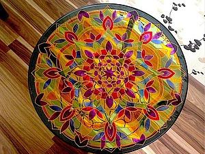 Пример декора журнального стола с помощью витражных красок | Ярмарка Мастеров - ручная работа, handmade