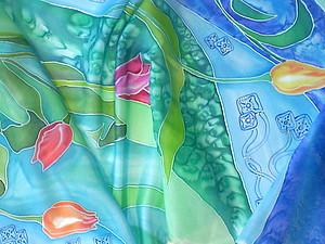 Роспись тюльпанового шарфика шаг за шагом | Ярмарка Мастеров - ручная работа, handmade