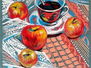 Рисуем натюрморт с яблоками. Используем пастель на наждачной бумаге. Ярмарка Мастеров - ручная работа, handmade.