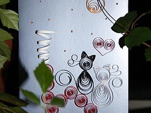 Мастер-класс: квиллинг-открытка «Любовь на крыше». Ярмарка Мастеров - ручная работа, handmade.