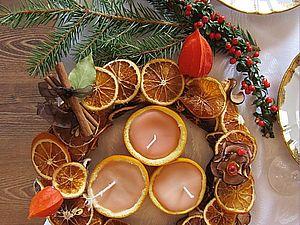 Апельсиновый венок и свечи. Встречаем Рождество.. Ярмарка Мастеров - ручная работа, handmade.