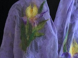 Видоурок: валяние палантина с ирисами. Ярмарка Мастеров - ручная работа, handmade.
