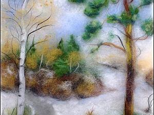 Картина в технике живопись шерстью. Лес | Ярмарка Мастеров - ручная работа, handmade