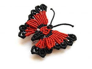 """Плетем яркую брошь """"Бабочка"""" в технике макраме. Часть 1. Ярмарка Мастеров - ручная работа, handmade."""