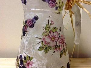 Эффект матового стекла - вазы, баночки, кувшины, стаканы! Декупаж рисовой бумагой   Ярмарка Мастеров - ручная работа, handmade