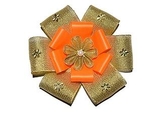 Как сделать нарядный бант-цветок из лент. Ярмарка Мастеров - ручная работа, handmade.