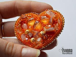 Золотое сердце - Брошь для душевного тепла. Ярмарка Мастеров - ручная работа, handmade.