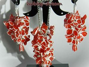 Цветочные серьги и кулон из полимерной глины своими руками. Ярмарка Мастеров - ручная работа, handmade.