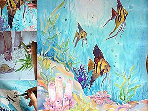 Подводный мир(панно)100/70см. Крепдешин. Батик.. Ярмарка Мастеров - ручная работа, handmade.