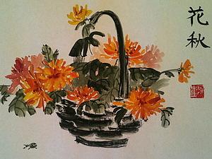 Рисуем ОСЕННИЙ БУКЕТ.(быстрые техники рисования).(гуашь) | Ярмарка Мастеров - ручная работа, handmade