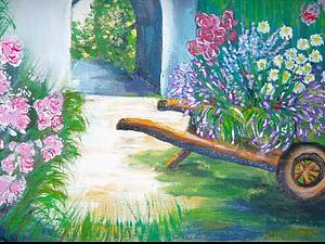 Роспись по ткани: рисуем телегу с цветами. Часть первая. Ярмарка Мастеров - ручная работа, handmade.