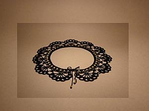 Как связать черный ажурный воротник с золотистыми бусинами. Ярмарка Мастеров - ручная работа, handmade.